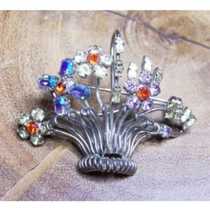 Silver Wire Metal Rhinestone Flower Basket…